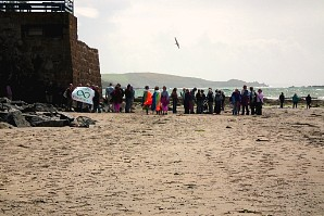 PC meeting on the beach at Marazion, after a talk given by Barry Brailsford