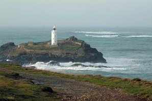 The lighthouse at Godrevy Point, east of Hayle