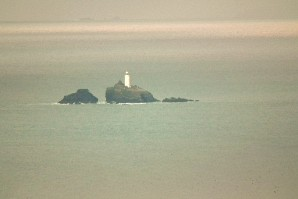 Lighthouse off Godrevy Point, as seen by telephoto from Trencrom Hill