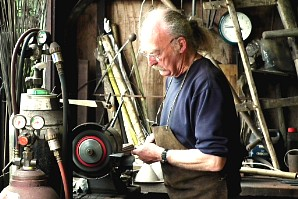 Dave Applebee making dowsing rods in Hamish's forge
