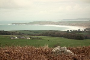 The view over Hayle beach, Gwithian and Godrevy Point from Trencrom Hill